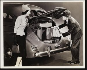 Vintage luggage - mylusciouslife.com - Man puts wifes suitcases in to back of car